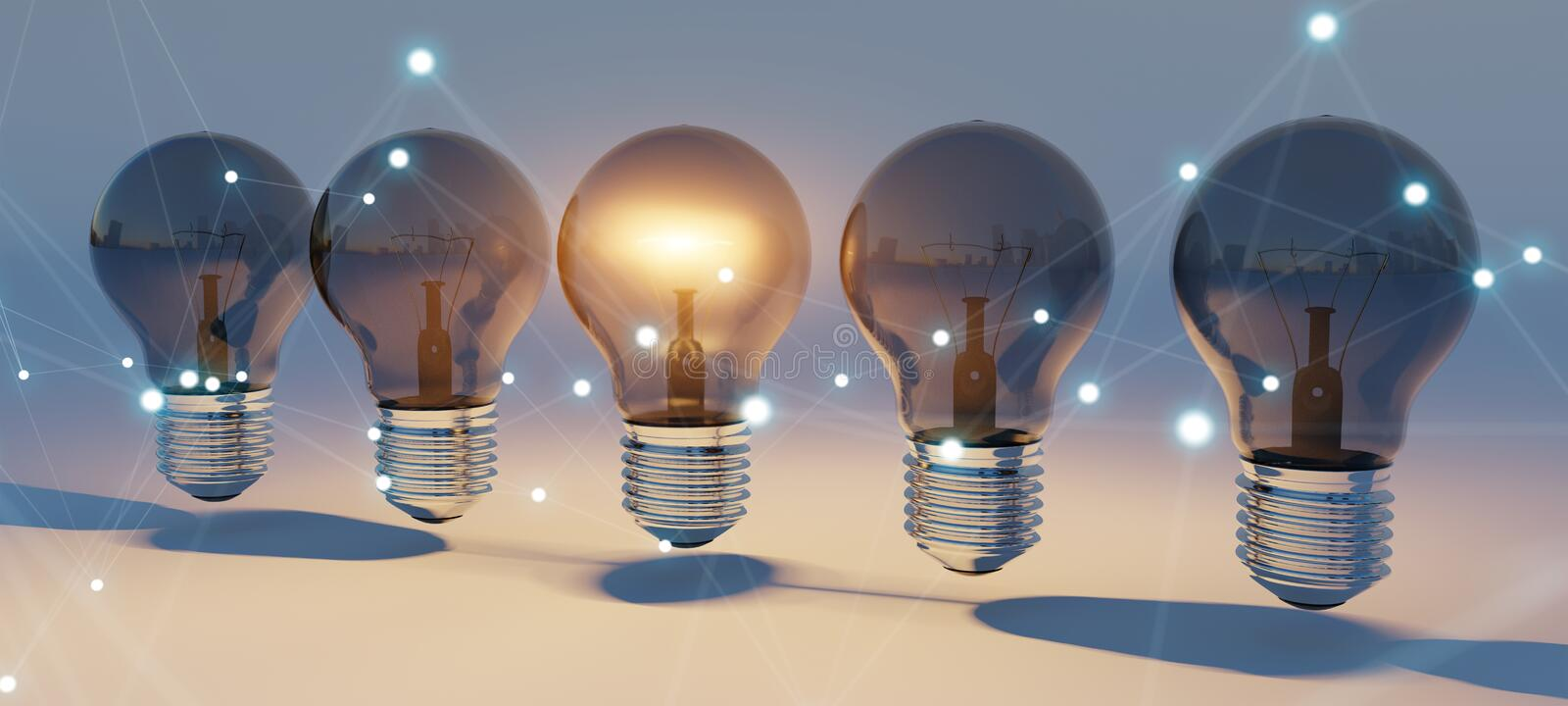 Bright lightbulbs and connections lined up 3D rendering royalty free illustration