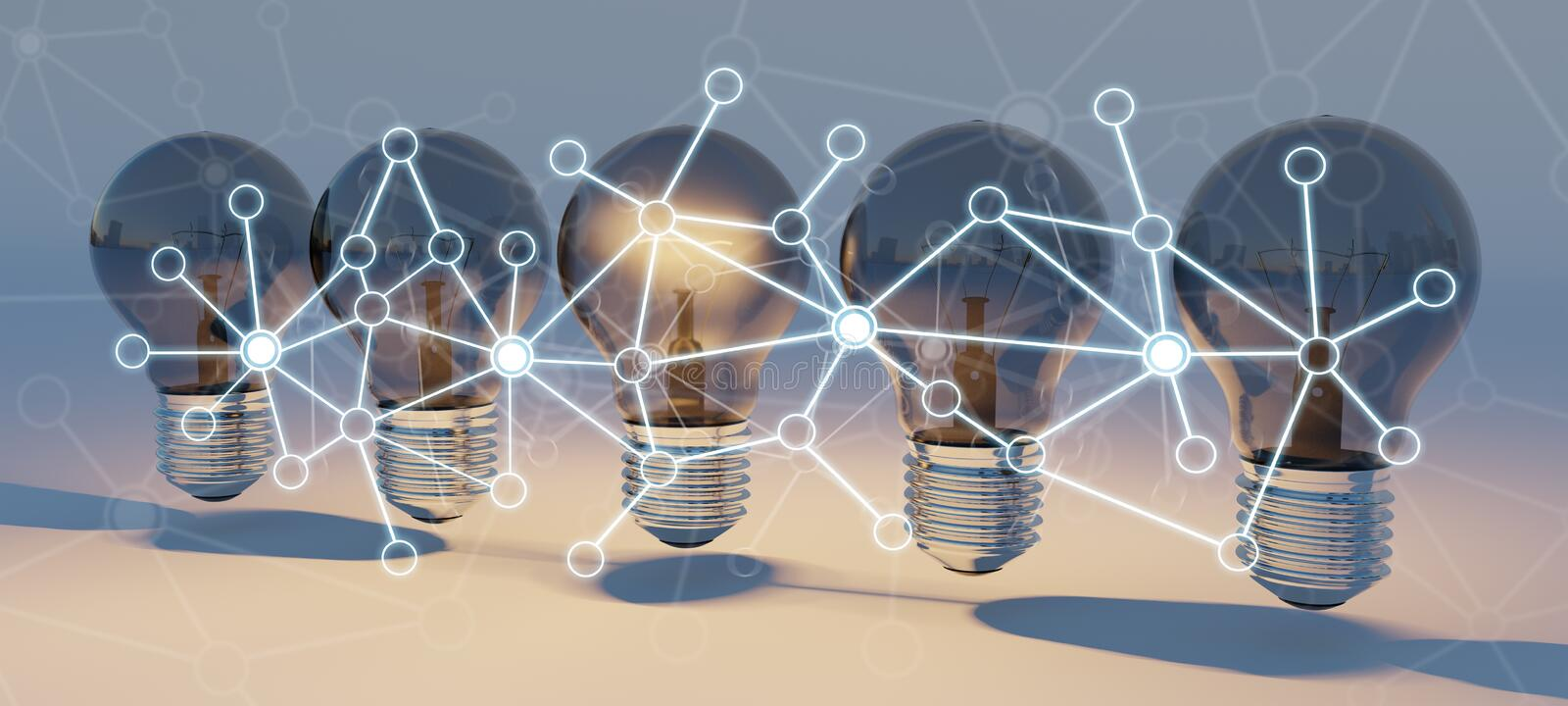 Bright lightbulbs and connections lined up 3D rendering vector illustration