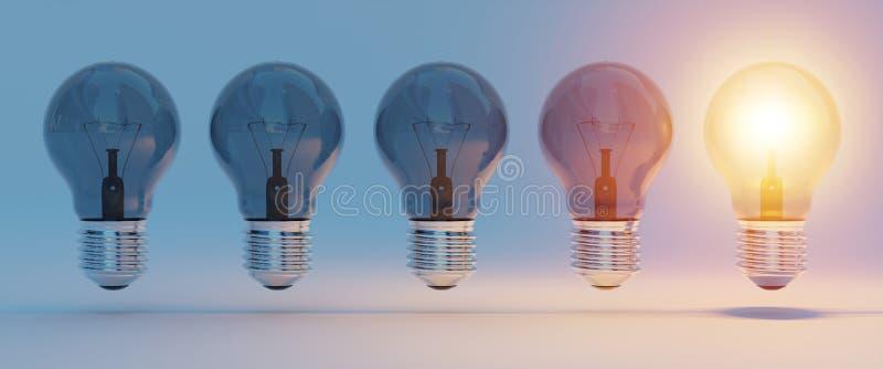 Bright lightbulbs lined up 3D rendering stock illustration