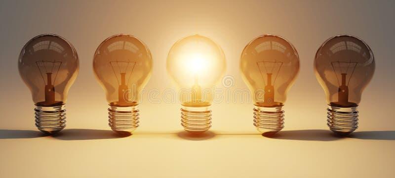 Bright lightbulbs lined up 3D rendering royalty free illustration