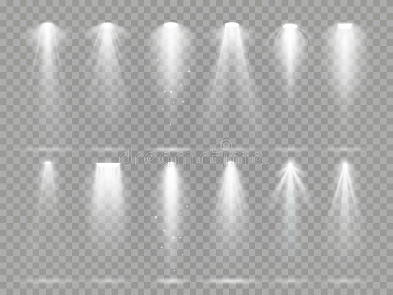 Bright lighting projector beams on theater stage. Rays of studio floodlights, white spotlight light and floodlight vector illustration