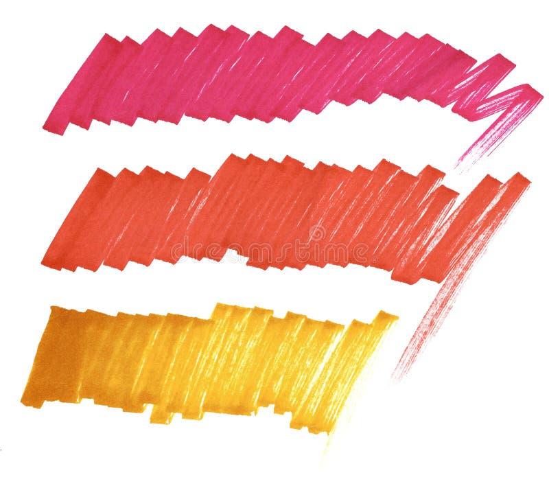 Bright lines marker. Crimson, red, orange. stock illustration