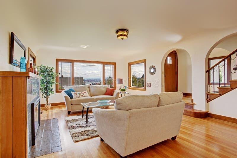 Bright Living Room In Light Ivory Tones Stock Photo