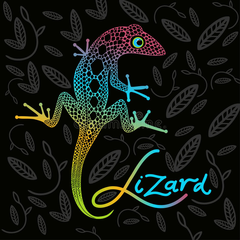 Bright lizard on a dark background stock illustration