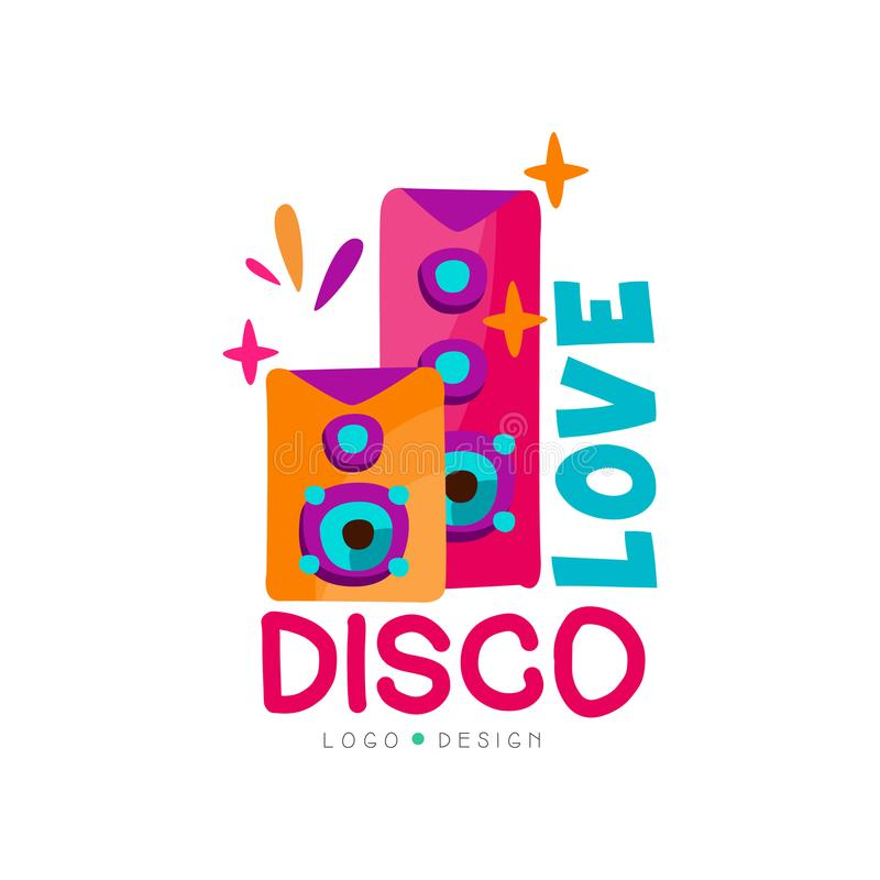 Bright logo with subwoofers. Love disco music. Audio speakers. Vector emblem for record studio, night club, dance school royalty free illustration