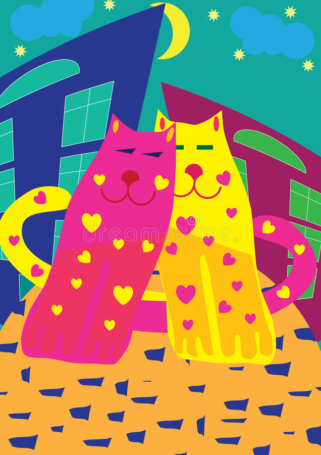 Bright love cats royalty free stock photography