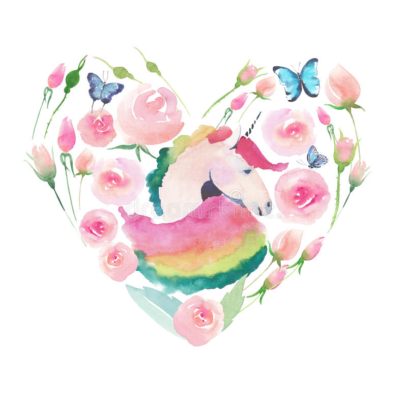 Bright lovely cute fairy magical colorful heart of unicorn with spring pastel cute beautiful flowers. Watercolor hand sketch stock illustration