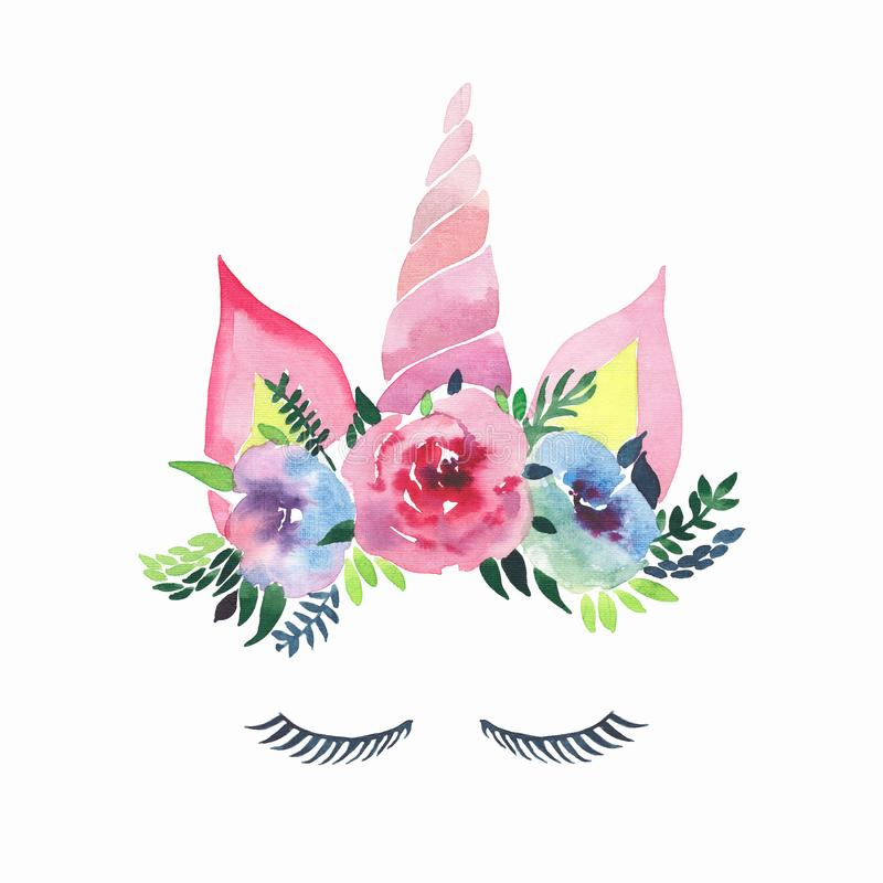 Bright lovely cute fairy magical colorful unicorn with eyelashes in the beautiful flower crown watercolor hand sketch vector illustration