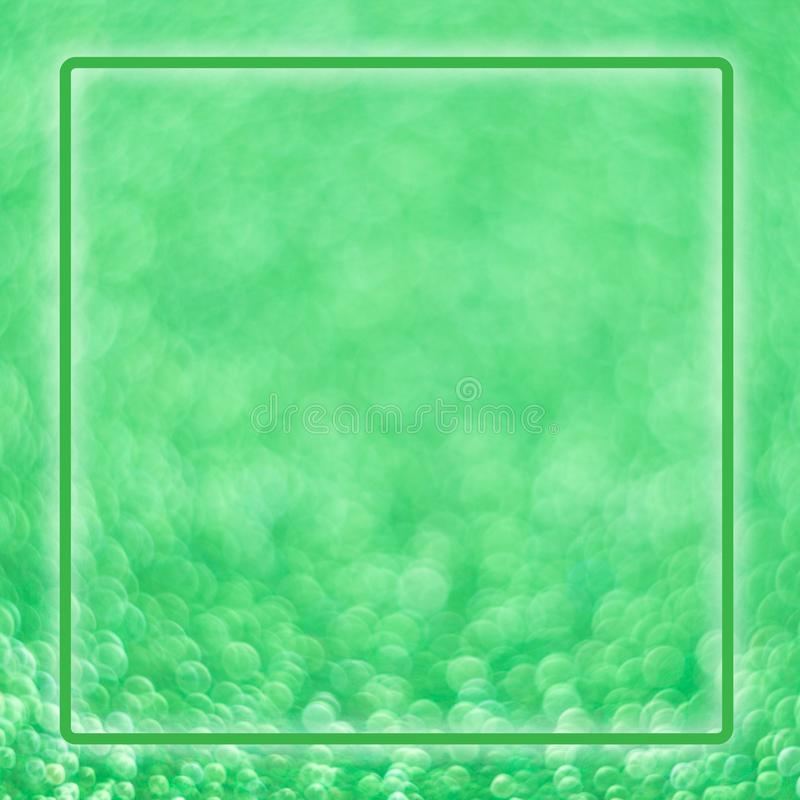 Bright magic light green christmas square shiny background with luminous neon frame royalty free stock photography