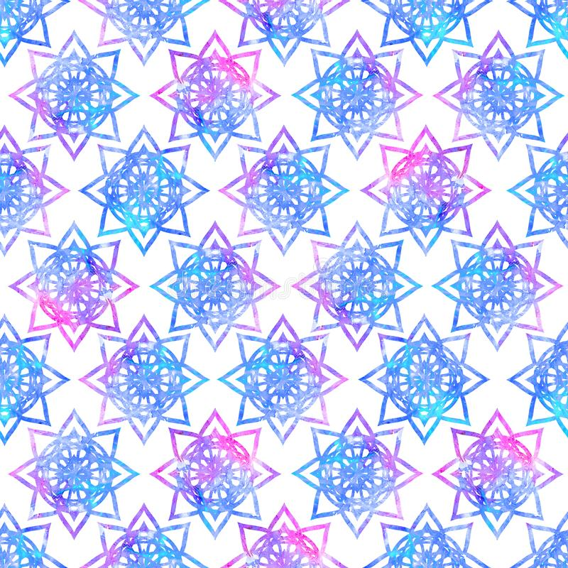 Bright mandala flower geometrical shape abstract grunge colorful splashes texture, watercolor seamless pattern design in blue pink. Bright mandala flower royalty free illustration