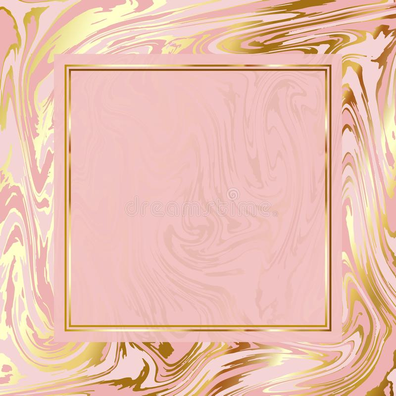 Bright marble paper vector texture imitation, pale rose pink and gold background, elegant golden frame vector illustration