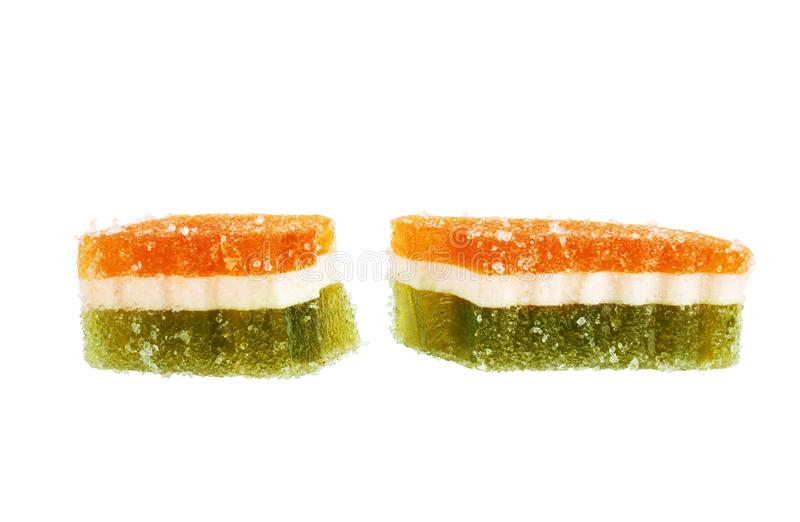 Bright marmalade candy on a white background stock images