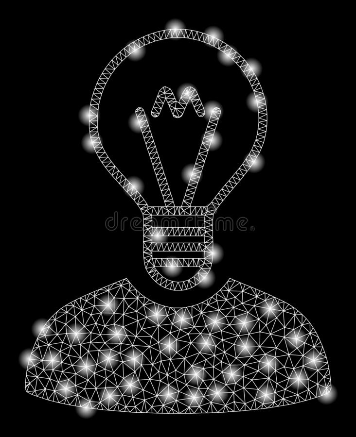 Bright Mesh Network Bulb Inventor with Flash Spots. Bright mesh bulb inventor with glare effect. Abstract illuminated model of bulb inventor icon. Shiny wire royalty free illustration