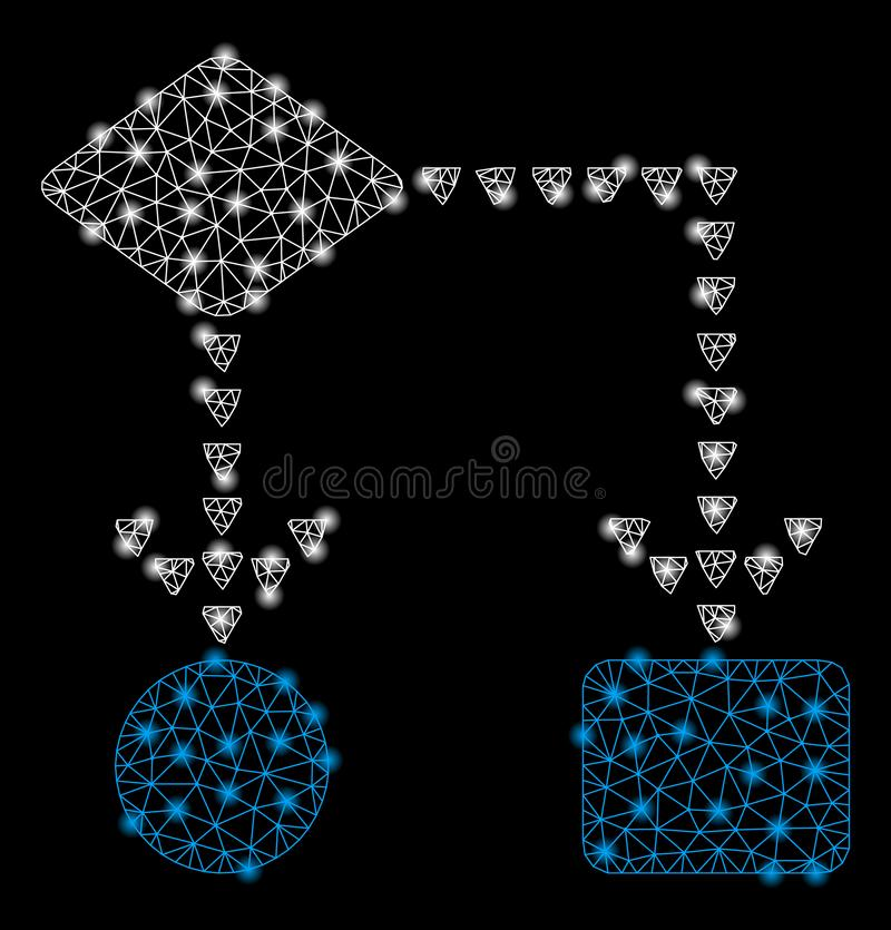 Bright Mesh Carcass Algorithm Flowchart with Flare Spots. Bright mesh algorithm flowchart with glow effect. Shiny wire carcass polygonal mesh in vector format on vector illustration