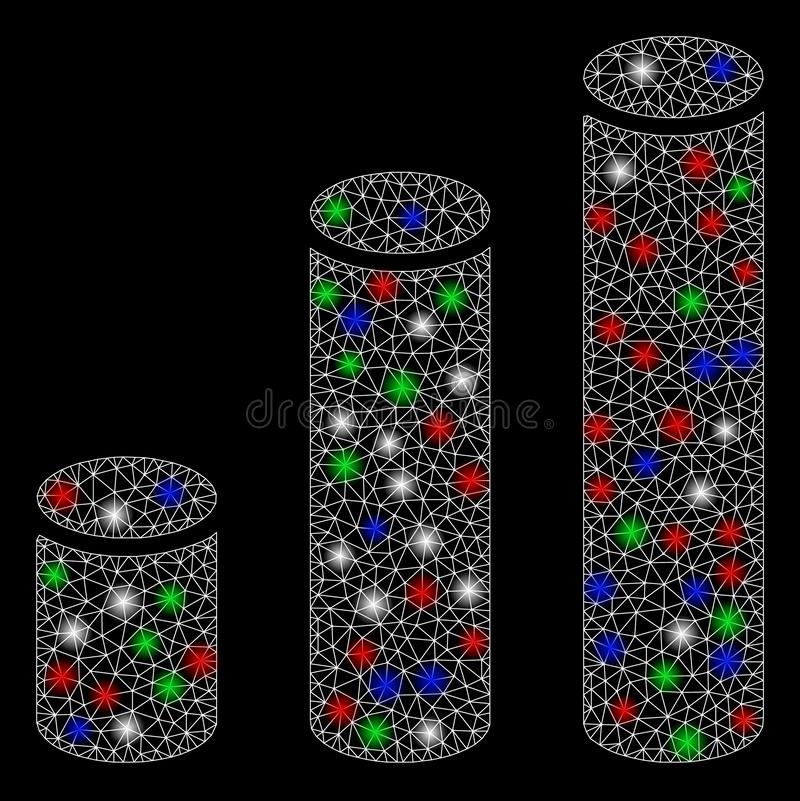 Bright Mesh Carcass Bar Chart Cylinders with Flare Spots. Bright mesh bar chart cylinders with lightspot effect. White wire carcass polygonal mesh in vector stock illustration