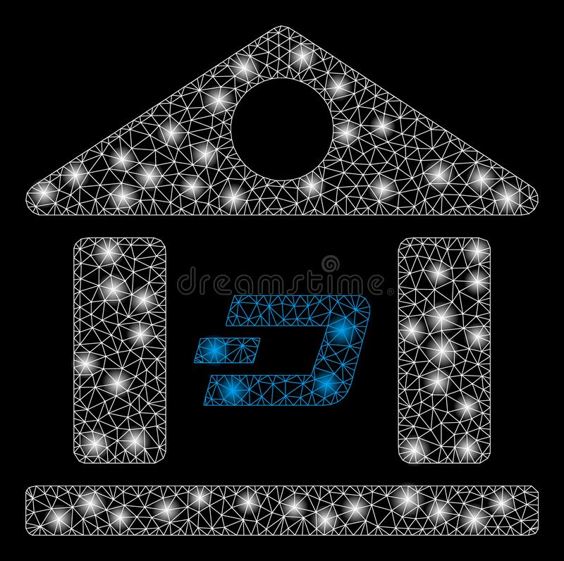 Bright Mesh Carcass Dash Bank Building with Flash Spots. Bright mesh Dash bank building with glare effect. Abstract illuminated model of Dash bank building icon royalty free illustration