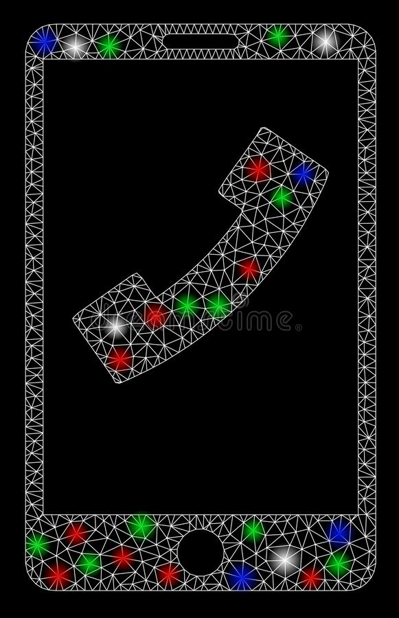 Bright Mesh 2D Cell Phone with Flash Spots royalty free illustration