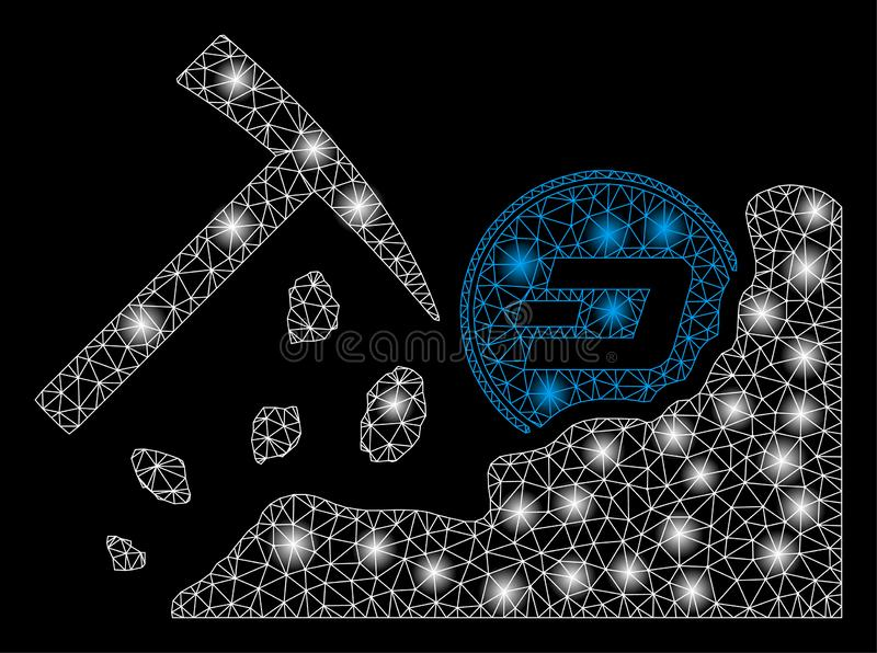 Bright Mesh 2D Dash Mining Hammer with Flare Spots. Bright mesh Dash mining hammer with glare effect. Abstract illuminated model of Dash mining hammer icon stock illustration