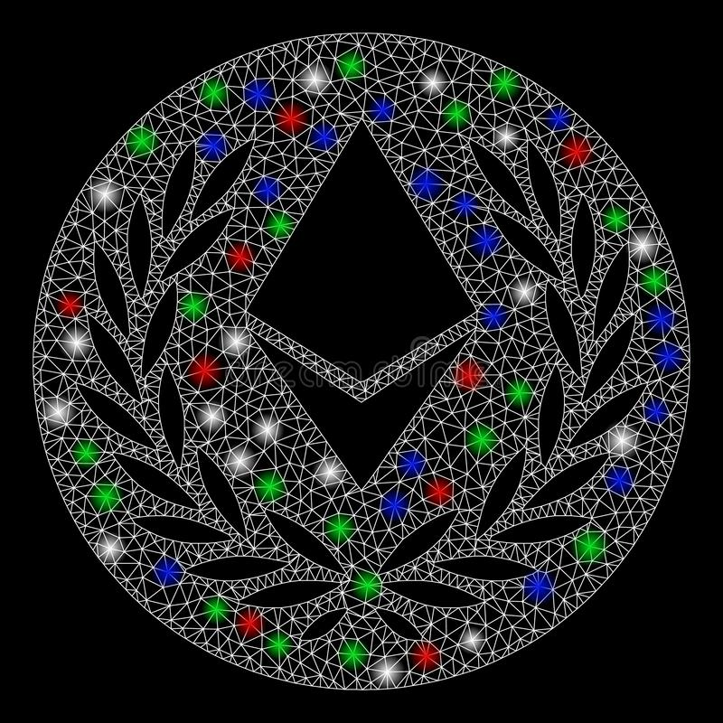 Bright Mesh Network Ethereum Laurel Coin with Flash Spots. Bright mesh Ethereum laurel coin with glow effect. White wire carcass triangular mesh in vector format stock illustration