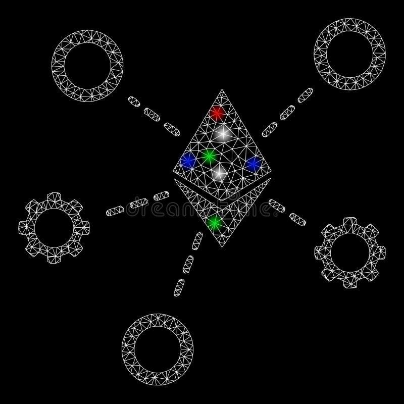 Bright Mesh Network Ethereum Network Nodes with Light Spots. Bright mesh Ethereum network nodes with glare effect. White wire frame triangular network in vector vector illustration