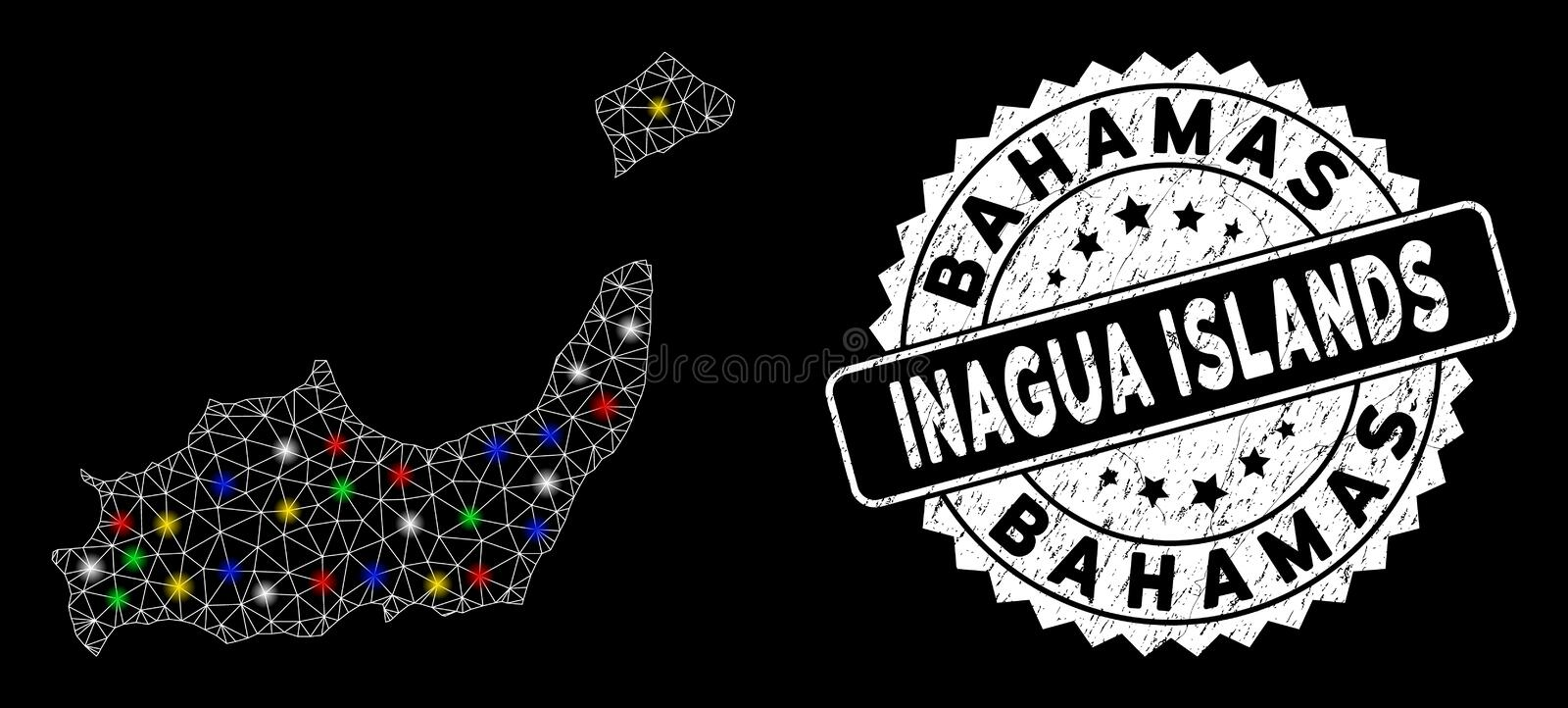 Bright Mesh Network Inagua Islands Map with Light Spots and Grunge Stamp. Bright mesh Inagua Islands map with lightspot effect, and seal stamp. Wire frame vector illustration