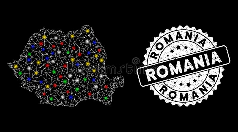 Bright Mesh Network Romania Map with Flash Spots and Grunge Seal. Bright mesh Romania map with glare effect, and seal stamp. Wire carcass polygonal Romania map vector illustration