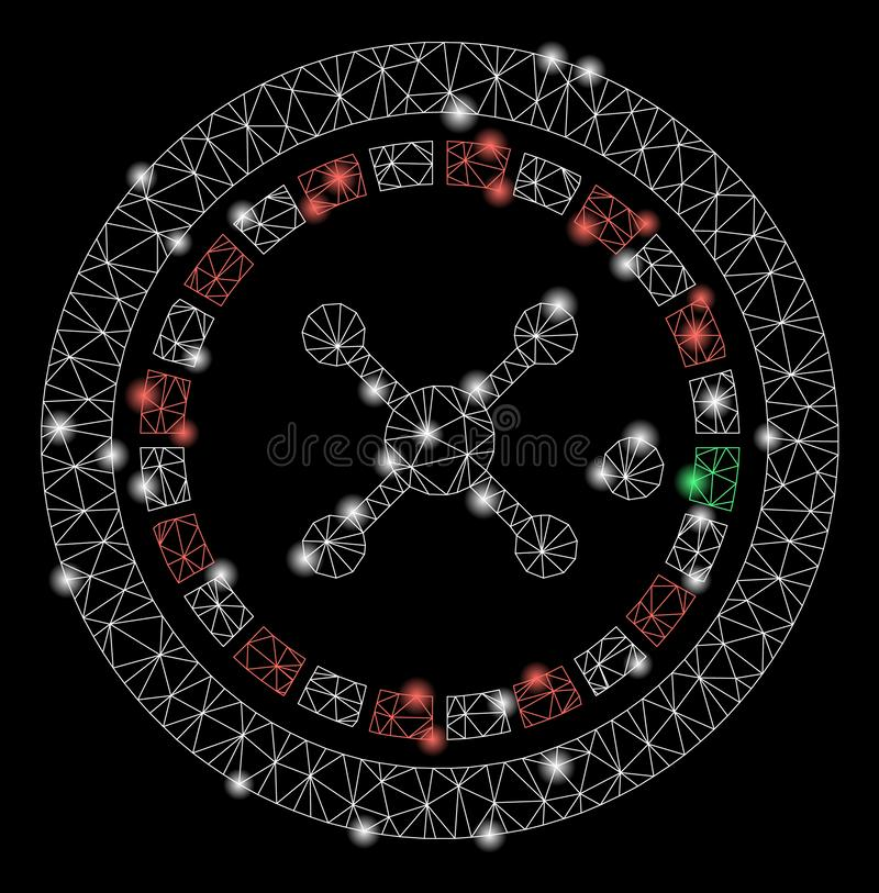 Flare Mesh Carcass Roulette with Flare Spots. Bright mesh roulette with glow effect. Abstract illuminated model of roulette icon. Shiny wire carcass polygonal stock illustration