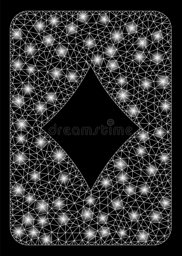Bright Mesh Wire Frame Diamonds Gambling Card with Flash Spots vector illustration