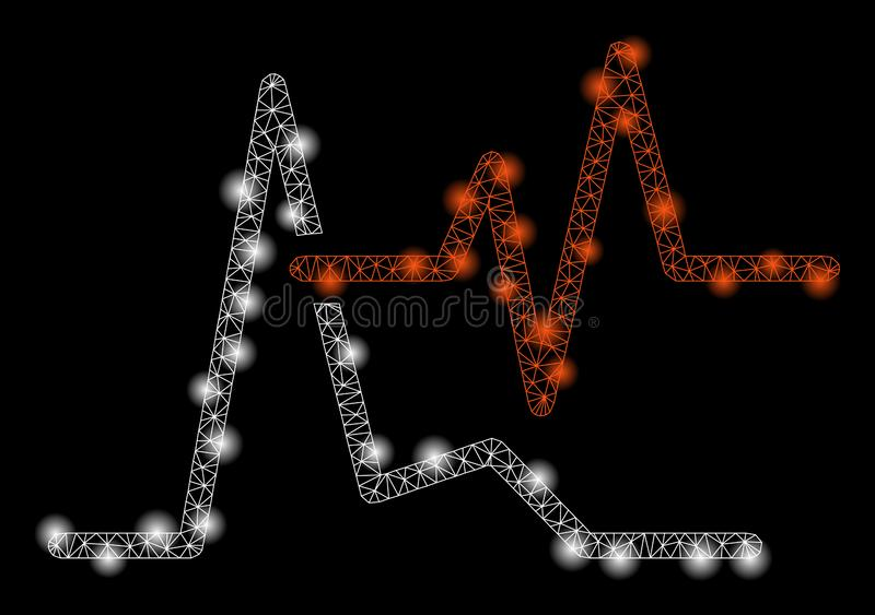 Bright Mesh Wire Frame ECG with Flare Spots. Bright mesh ECG with glare effect. Abstract illuminated model of ECG icon. Shiny wire frame triangular network ECG royalty free illustration