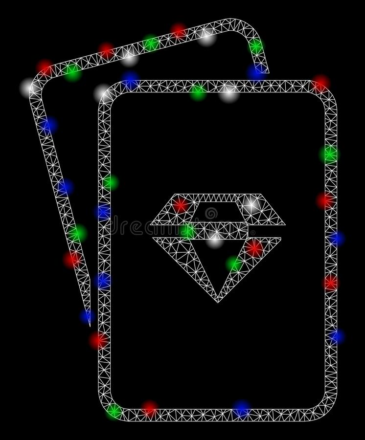 Bright Mesh Wire Frame Ruby Gambling Cards with Flash Spots. Bright mesh ruby gambling cards with glare effect. White wire frame polygonal network in vector stock illustration