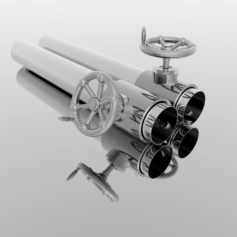 Download Bright Metal Tubes With Crank Valve Stock Illustration - Image: 12932410