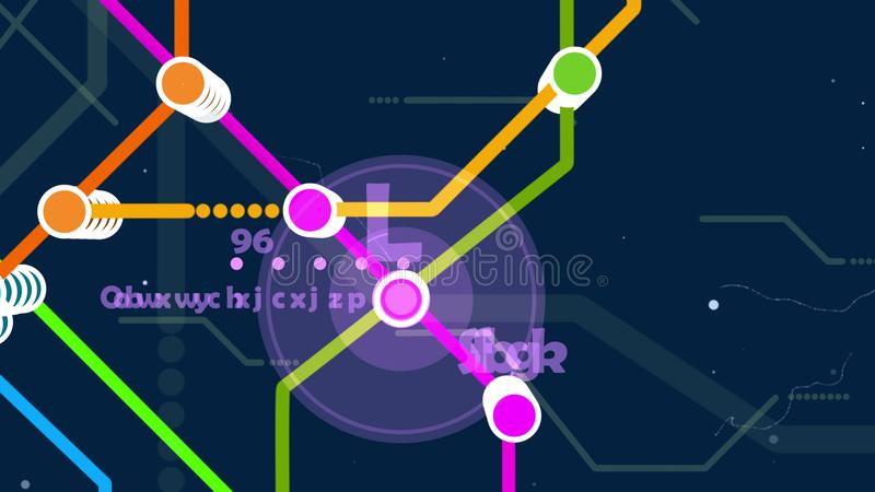 Bright Metro Map. Hilarious 3d rendering of a metro map. It has a big center with an orange, yellow, red, blue, and green lines. It has heaps of nodes, some stock illustration