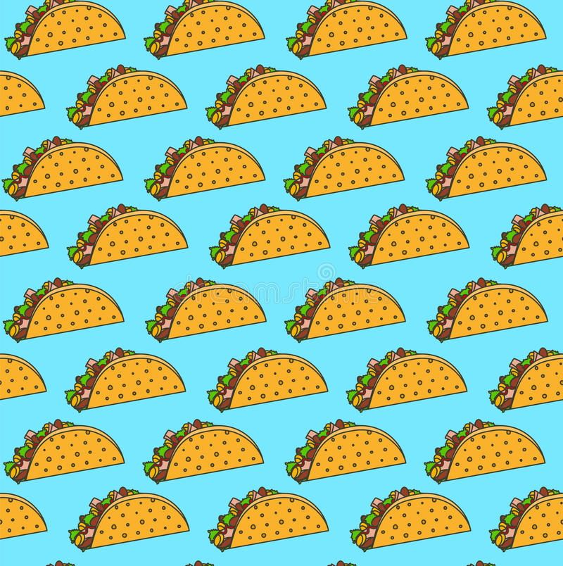 Bright mexican fastfood seamless pattern with tacos on blue background. Nice spanish fast food texture for textile, wallpaper, background, cover, banner, bar royalty free illustration