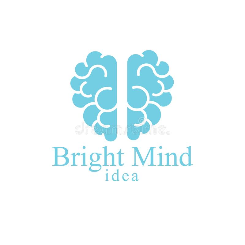 Bright Mind vector logo or icon with human anatomical brain. Thinking and brainstorming concept stock illustration