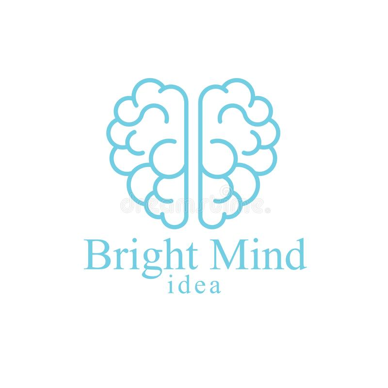 Bright Mind vector logo or icon with human anatomical brain. Thinking and brainstorming concept royalty free illustration