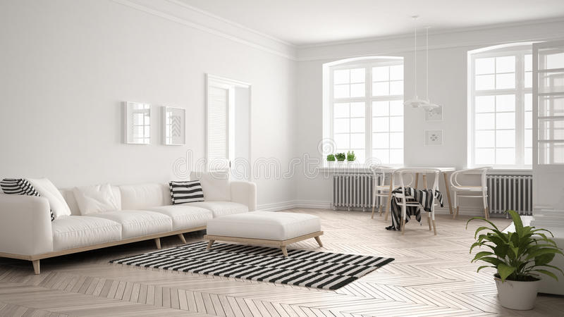 Bright minimalist living room with sofa and dining table, scandinavian white interior design royalty free illustration