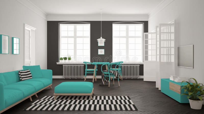 Bright minimalist living room with sofa and dining table, scandinavian white and turquoise interior design stock illustration