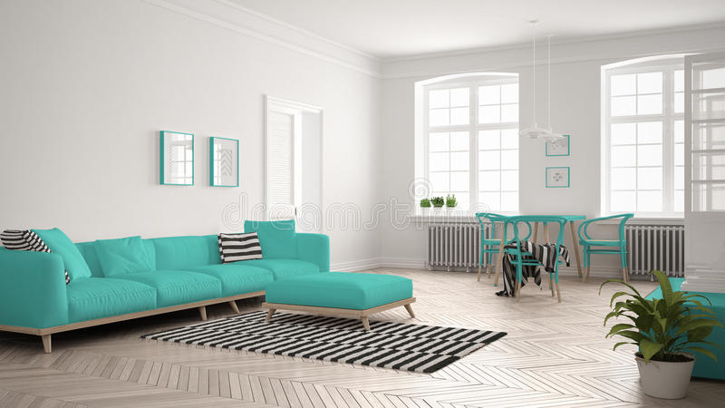 Bright minimalist living room with sofa and dining table, scandinavian white and turquoise interior design royalty free illustration