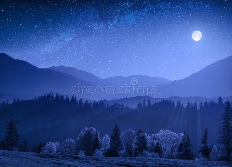 Bright misty night with milky way in a sky stock images