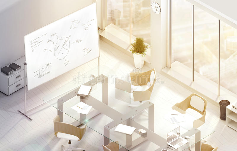 Bright modern conference office room design mockup, 3d rendering royalty free stock photos