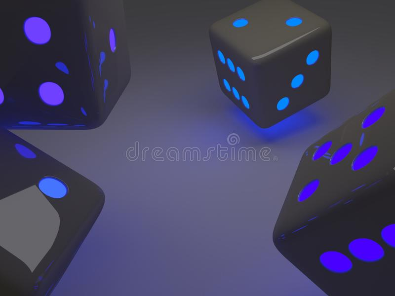 Bright modern dice. Modern black dice with colored lights, placed on an infinite background black colo, 3d illustration vector illustration