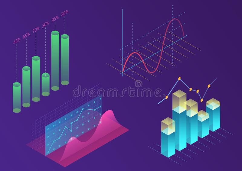 Bright modern gradient color infographic vector elements. 3d isometric design for promotion, presentation, sales banner. Income report design, stylish website royalty free illustration