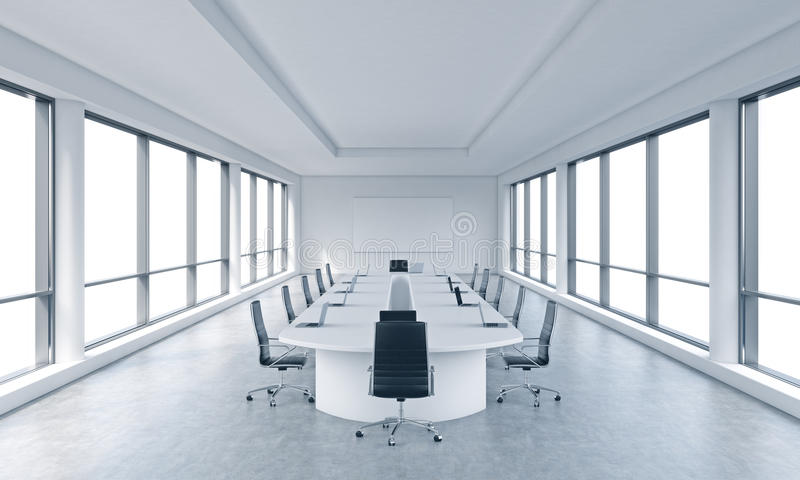 A bright modern panoramic meeting room in a modern office with white copy space in windows. royalty free illustration