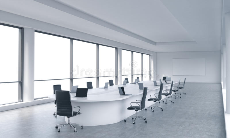 A Bright Modern Panoramic Meeting Room In A Modern Office