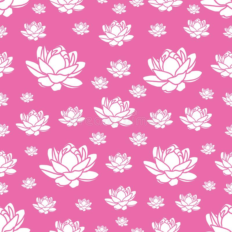 Modern pink and white seamless repeating lotus flower design for fabric or wallpaper royalty free illustration