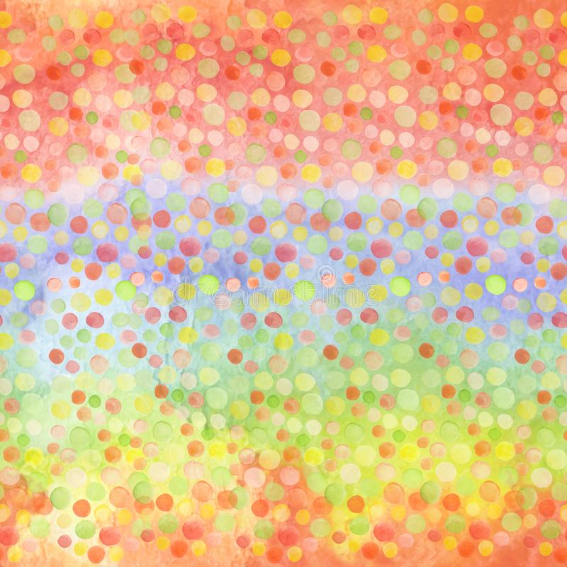 Bright modern seamless hand drawn pattern of confetti over blur rainbow. Watercolor pattern for kids textile, fabric prints, phone stock illustration