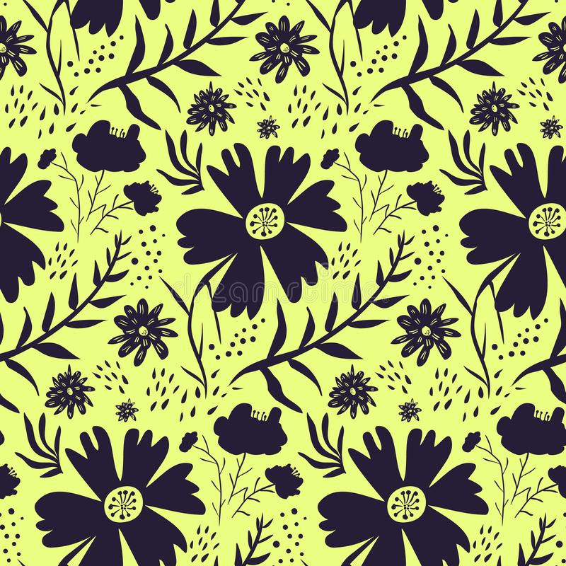 Bright yellow and black floral pattern vector illustration
