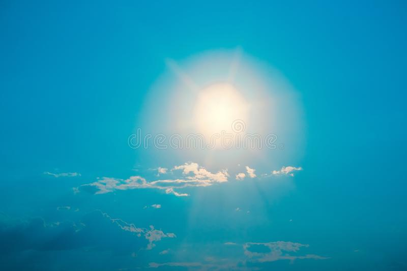 Bright moon on blue night sky. With clouds background abstraction night landscape stock photo