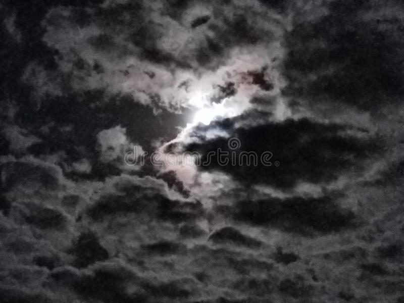 Bright Moon Cloudy Sky royalty free stock photos
