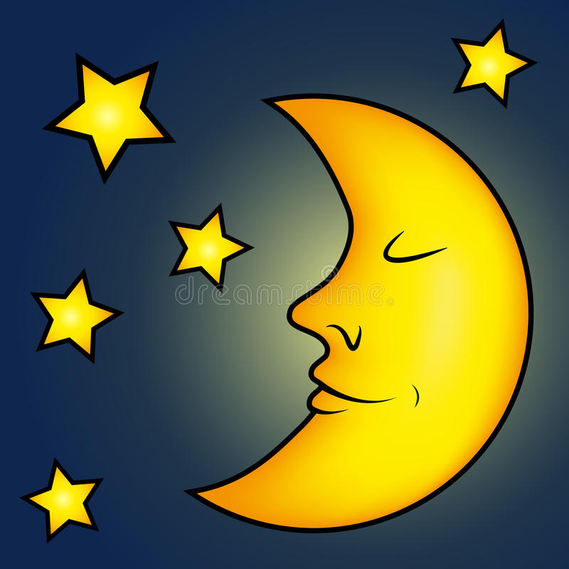 Bright Moon And Stars Royalty Free Stock Photography